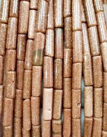 Natuursteen kralen tubes bruin glitter