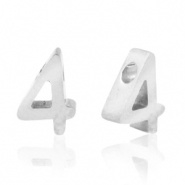Cijferkraal 4 zilver RVS