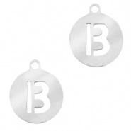 Bedel initial letter B zilver RVS