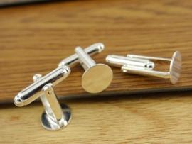 Manchetknoop 12 mm zilver