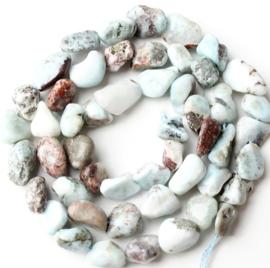 Chips stone kralen blauw 5-8 mm 25 stuks