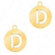 Bedel initial letter D goud RVS