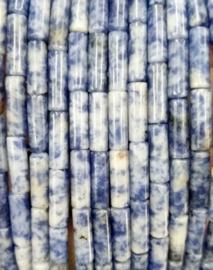 Natuursteen kralen tubes blauw wit mixed