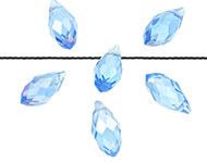 Facetkraal blauw saffier licht AB druppel 13x6 mm