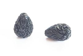Koraal kraal bloem druppel carved zwart