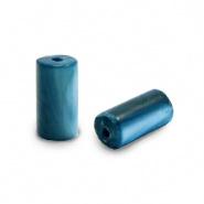 Schelp kraal blauw evening 8x4 mm tube