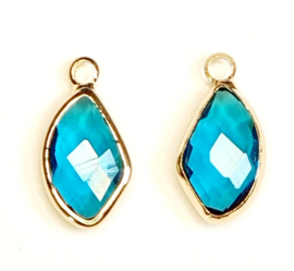 Crystal glas hanger blauw aqua deep goud
