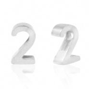 Cijferkraal 2 zilver RVS