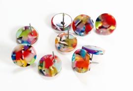 Oorstekers resin disco colour 14 mm