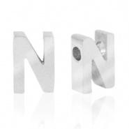 Initiaal letterkraal RVS N zilver