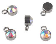 Bedel met strass crystal mini RVS