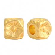 Metalen kraal goud bloem cube DQ