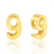 Cijferkraal 9 goudkleurig RVS