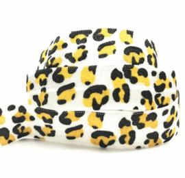 Elastisch lint leopard wit geel