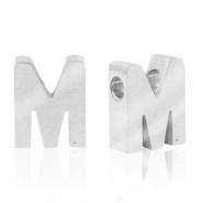 Initiaal letterkraal RVS M zilver