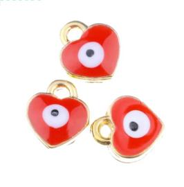 Bedel evil eye rood goud 7 mm hartje