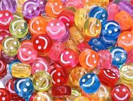 Letterkraal smiley mix color transparant 7 mm