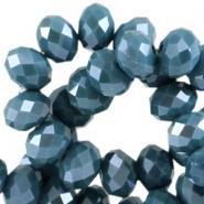 Facetkraal blauw teal opaak 8x6 mm 72 stuks