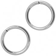 Open ring zilver 6 mm 100 stuks RVS
