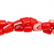 Schelp kraal rood fiery 4x3,5 mm tube