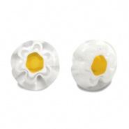 Millefiori kralen bloem wit geel 8 mm disc
