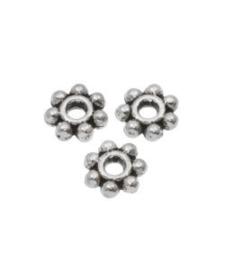 Metalen kraal zilver 4,5 mm spacer / rondel slider donker 25 stuks