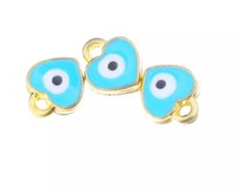 Bedel evil eye blauw turquoise goudkleurig 7 mm hartje