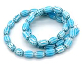 Glaskraal blauw stripes ovaal