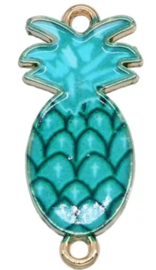 Bedel ananas blauw turquoise goud connector