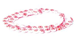 Millefiori kralen bloem wit rood 8 mm disc