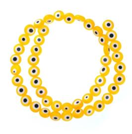 Evil eye kralen geel 5 mm glas