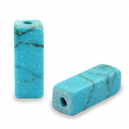 Natuursteen kralen tubes blauw turquoise