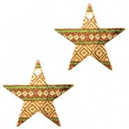Bedel ster aztec bruin groen goudkleurig
