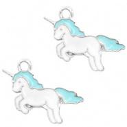 Bedel eenhoorn unicorn zilver blauw wit