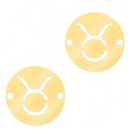 Bedel / tussenstuk sterrenbeeld Stier goudkleurig RVS