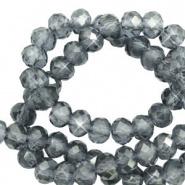 Facetkraal blauw steel 4x3 mm 130 stuks