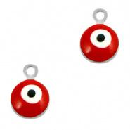 Bedel evil eye rood zilver 6 mm