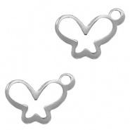 Bedel vlinder zilver RVS