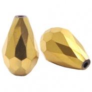 Facetkraal goud druppel 8x11 mm