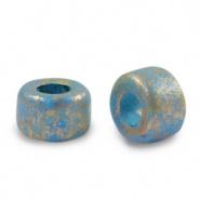 Keramiek kralen blauw aquamarine gold spot 9x5 mm Grieks DQ