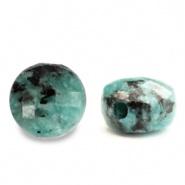 Kraal blauw turquoise 5 mm facet half edelsteen