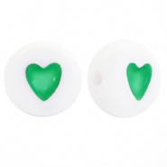 Hartjes kraal wit met groen