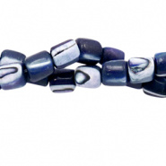 Schelp kraal blauw paars donker 4x3,5 mm tube