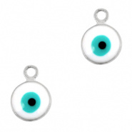 Bedel evil eye wit zilver 6 mm