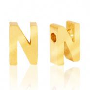 Initiaal letterkraal RVS N goud