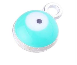 Bedel evil eye blauw turquoise zilver 6 mm