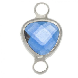 Crystal glas hanger blauw royal zilver connector