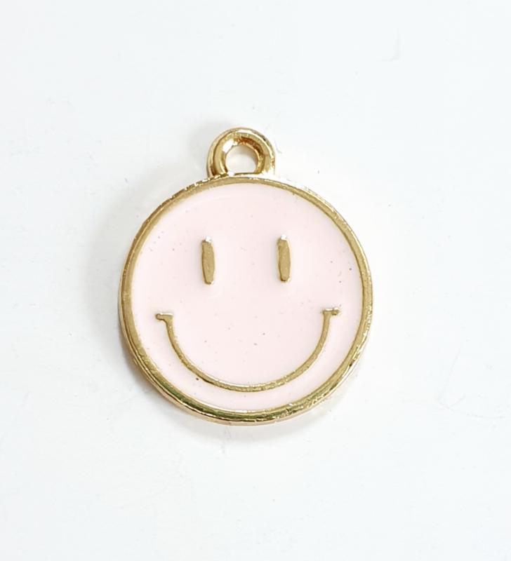 Bedel smiley roze licht goud 19x16 mm