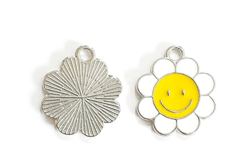Bedel bloem smiley zilver