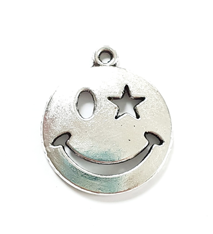 Bedel smiley knipoog zilver